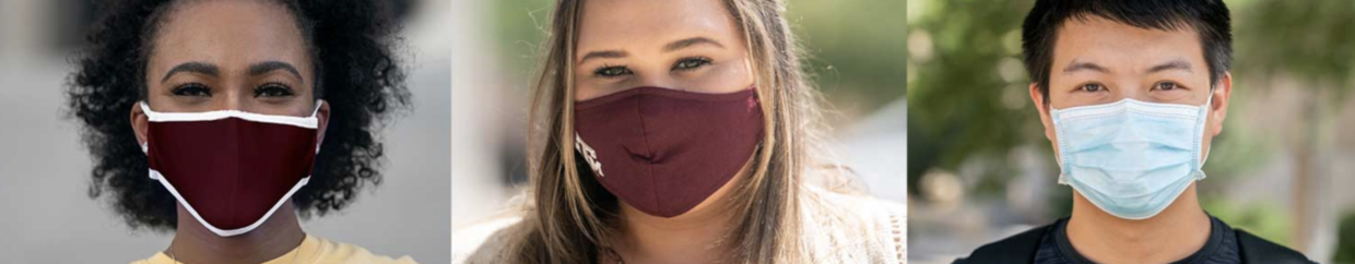 Texas A&M students wearing face masks.