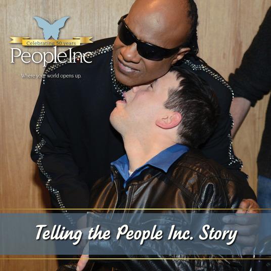 Jason Smith, as he meets his idol Stevie Wonder!