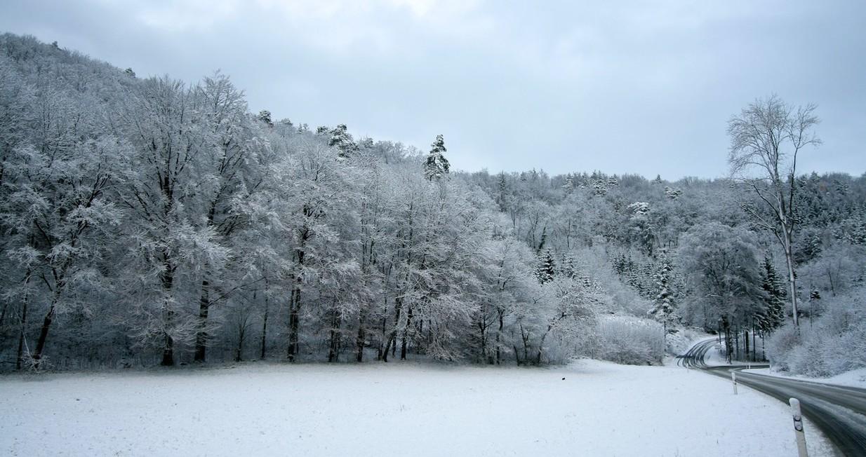 Farm field in snow