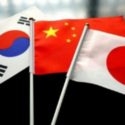 south korea, japan, and china flags