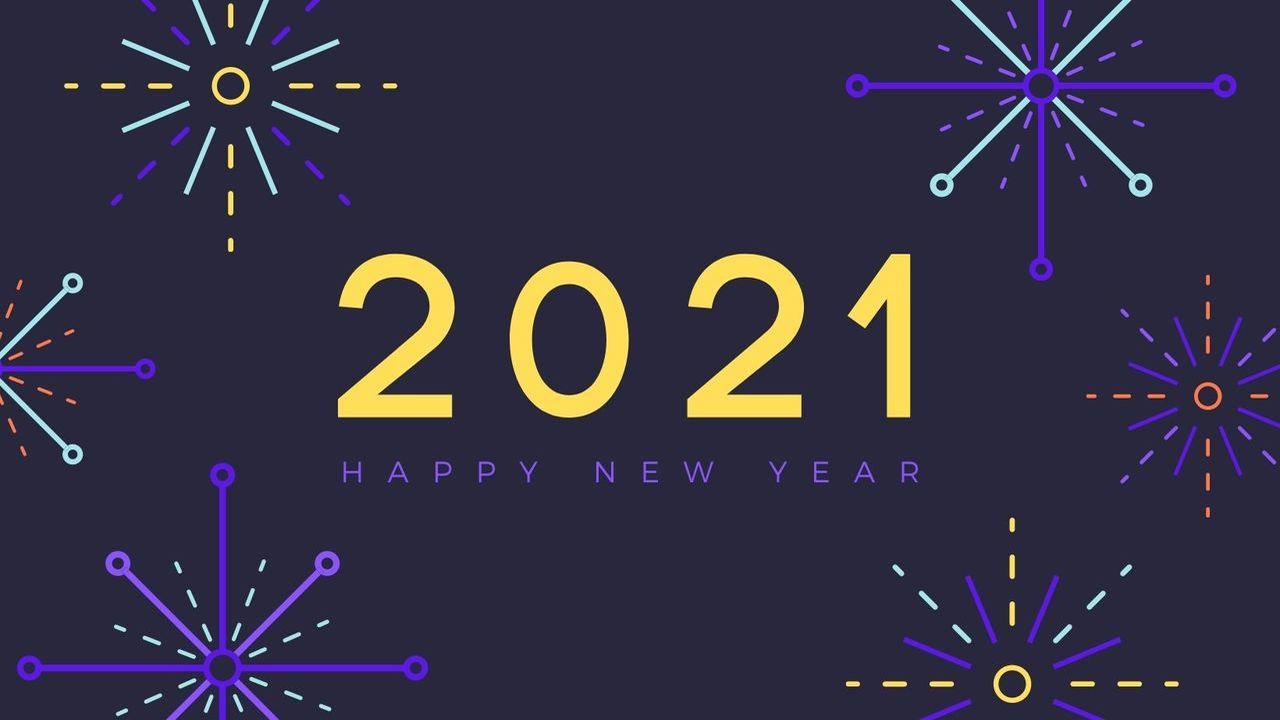 image of fireworks and text that says 2021 Happy New Year