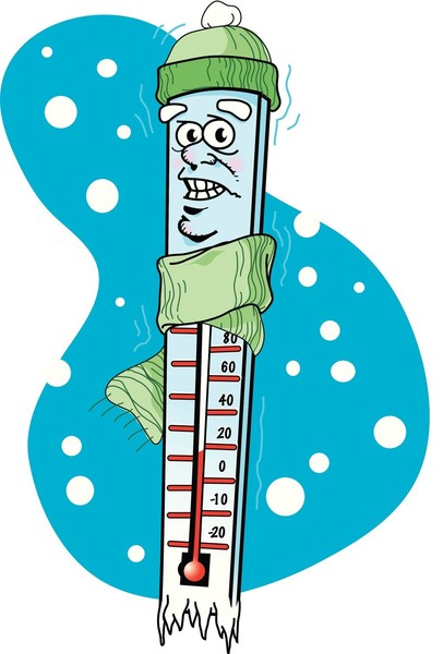 Thermometer with cartoon facial features and hat and scarf