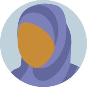 Icon of a faceless woman wearing a hijab
