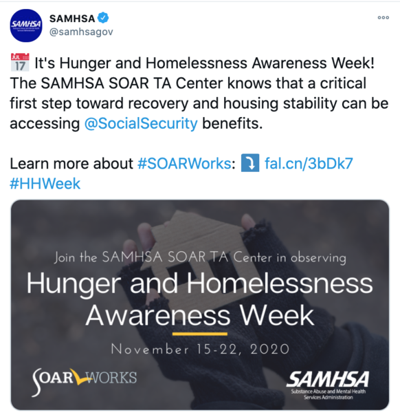 SAMHSA SOAR Tweet on Hunger and Homelessness Awareness Week