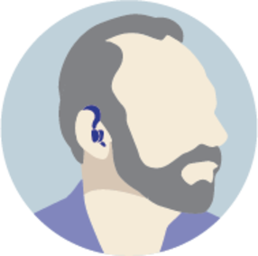 Icon of a faceless man with a beard and a hearing aid