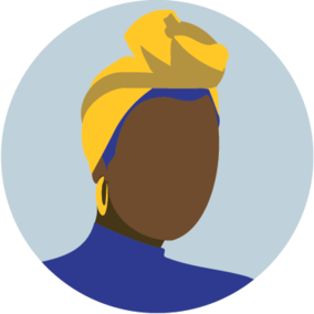 Icon of a faceless woman wearing a headwrap