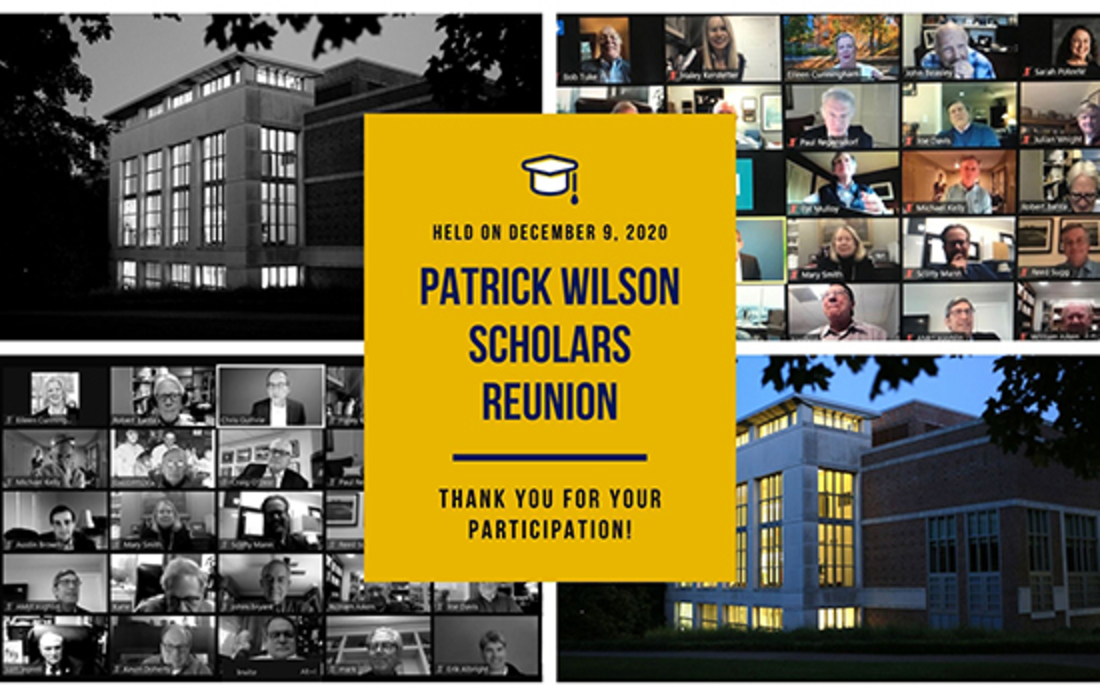 Patrick Wilson Scholars enjoyed a virtual reunion on December 9. It was organized by Mike Kelly ('76), Hobby Presley ('75), and Tony Orbson ('72).