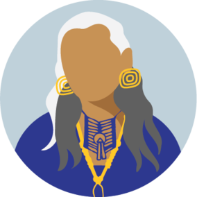 Icon of a faceless person with long hair and elaborate jewelry