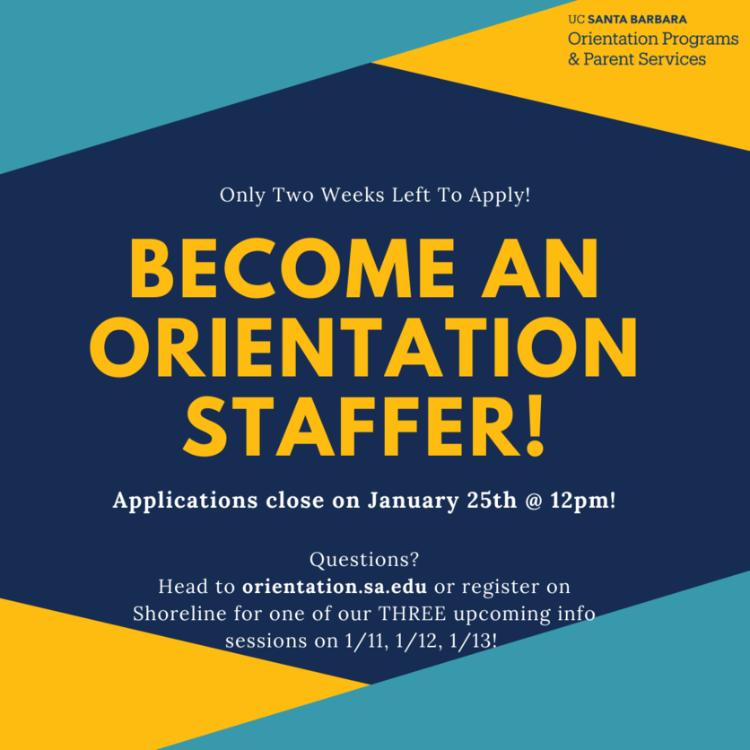 Poster promoting application to become an Orientation staffer