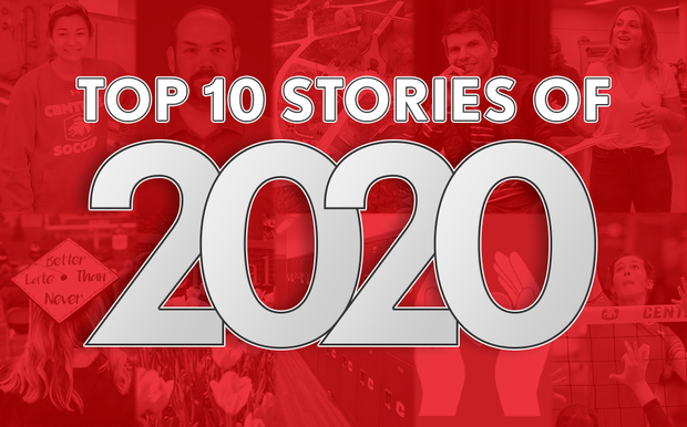 Bold white text reading TOP 10 STORIES OF 2020 overlaid on a red photo collage of pictures tied to the top 10 stories
