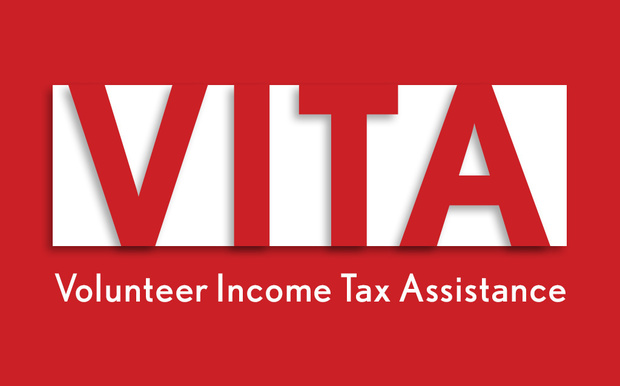 Red graphic with white text VITA Volunteer Income Tax Assistance