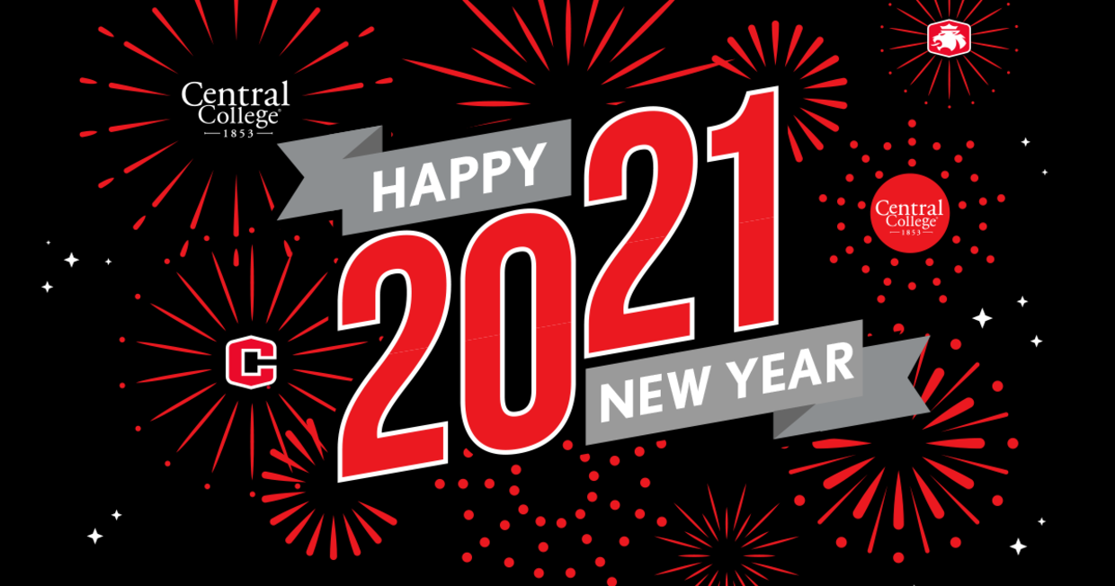 Graphic with Happy New Year 2021 from Central College