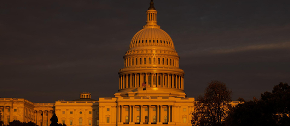 Capitol building in orange light