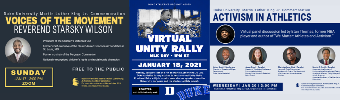 3 flyers for events happening around MLK weekend