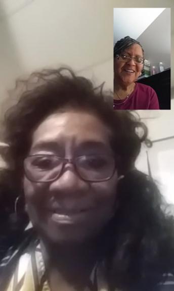 Older adults enjoying the senior companion program through a video call.