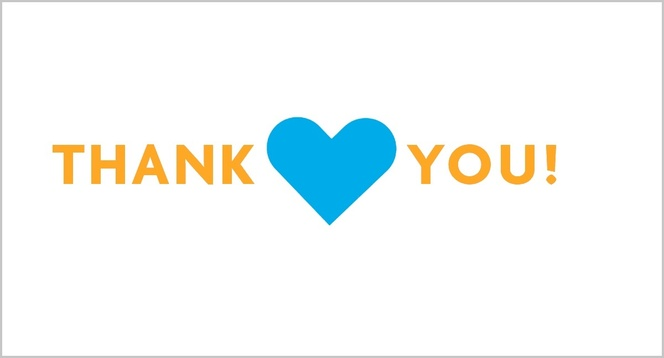 Thank you with a blue heart