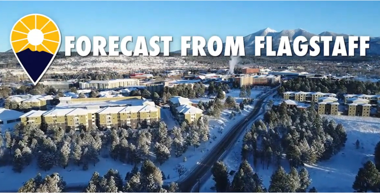 The Forecast from Flagstaff opening view of the NAU campus after a fresh snowfall.