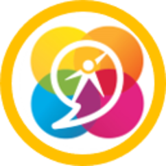 Overlapping rainbow circles with speech bubble, featuring the NSDA sparky logo in the center