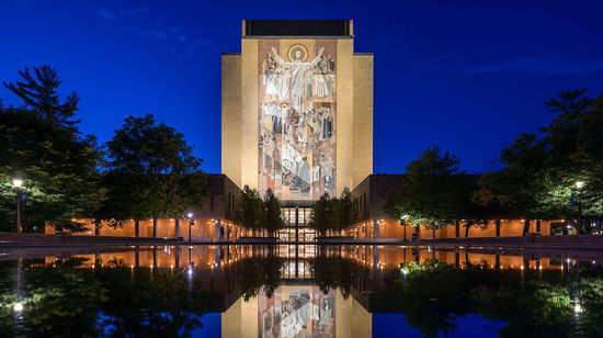 Hesburgh Library Word of Life mural, commonly known as Touchdown Jesus