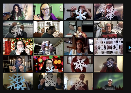 A Zoom window filled with IT Services employees and friends, showing their snowflake creations