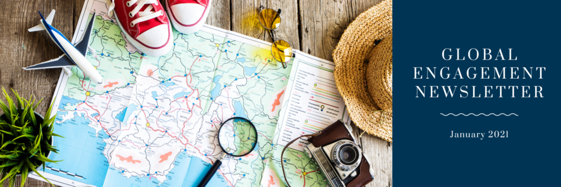 image of travel planning with a map, camera