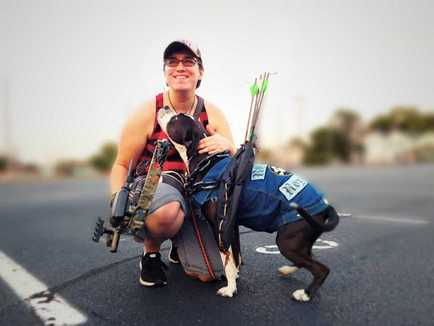 Naomi Cole and her service dog, Rhu