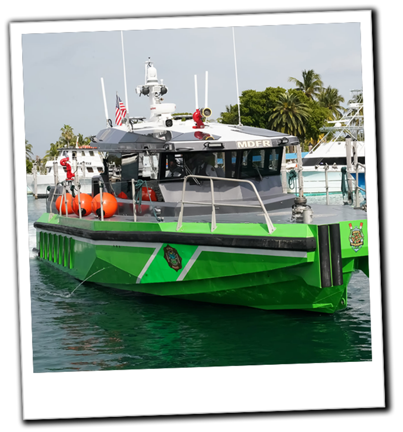 Miami Dade Fire Boat 21 Outfitted with Elkhart Brass Monitors & FRC Pressure Governors, Flowmeters