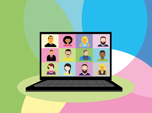 graphic of 12 people in a video conference on a laptop computer