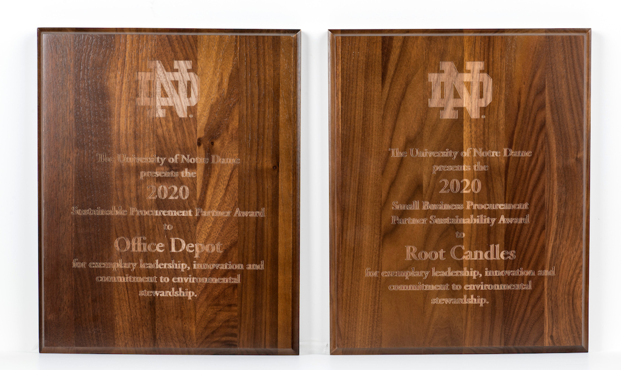 Phot of Supplier Sustainability award plaques.