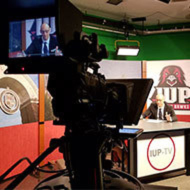 IUP-TV newsroom during filming