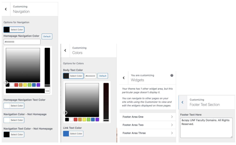 customization panel in wordpress