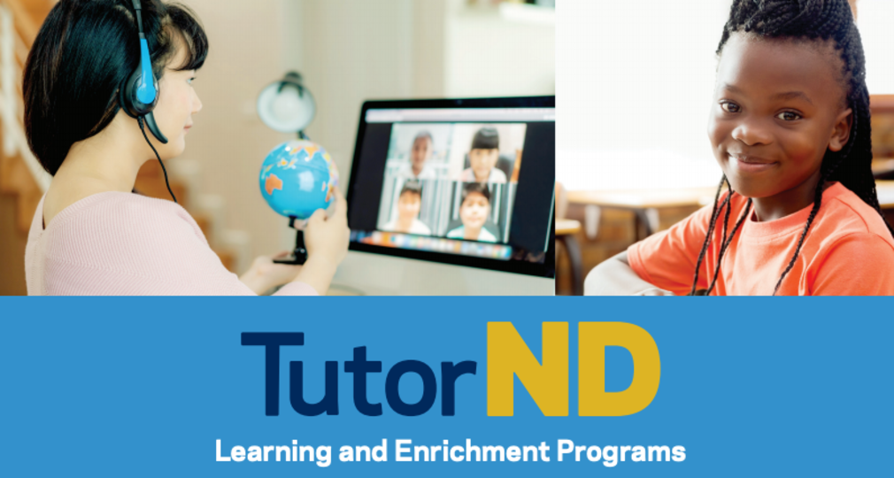 Gracphic that says TutorND and photos of a child receiving tutoring online.
