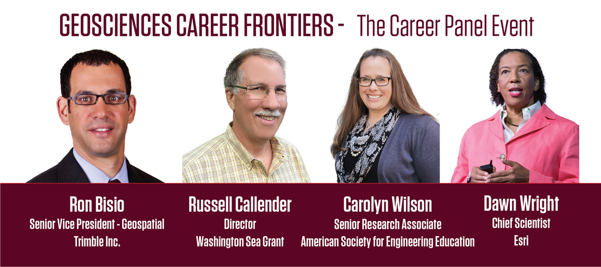 Image of the four career panel speakers: Ron Bisio, Senior Vice President - Geospatial, Trimble Incorporated; Russell Callender, Director, Washington Sea Grant; Carolyn Wilson, Senior Research Associate, American Society for Engineering Education; and Dawn Wright, Chief Scientist, Esri.