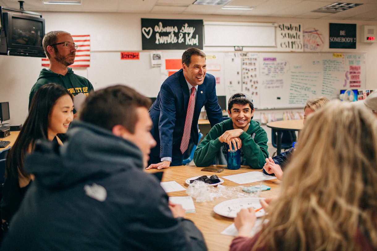Superintendent Dr. Scott Siegfried meets with students at Cherry Creek High School in May 2018