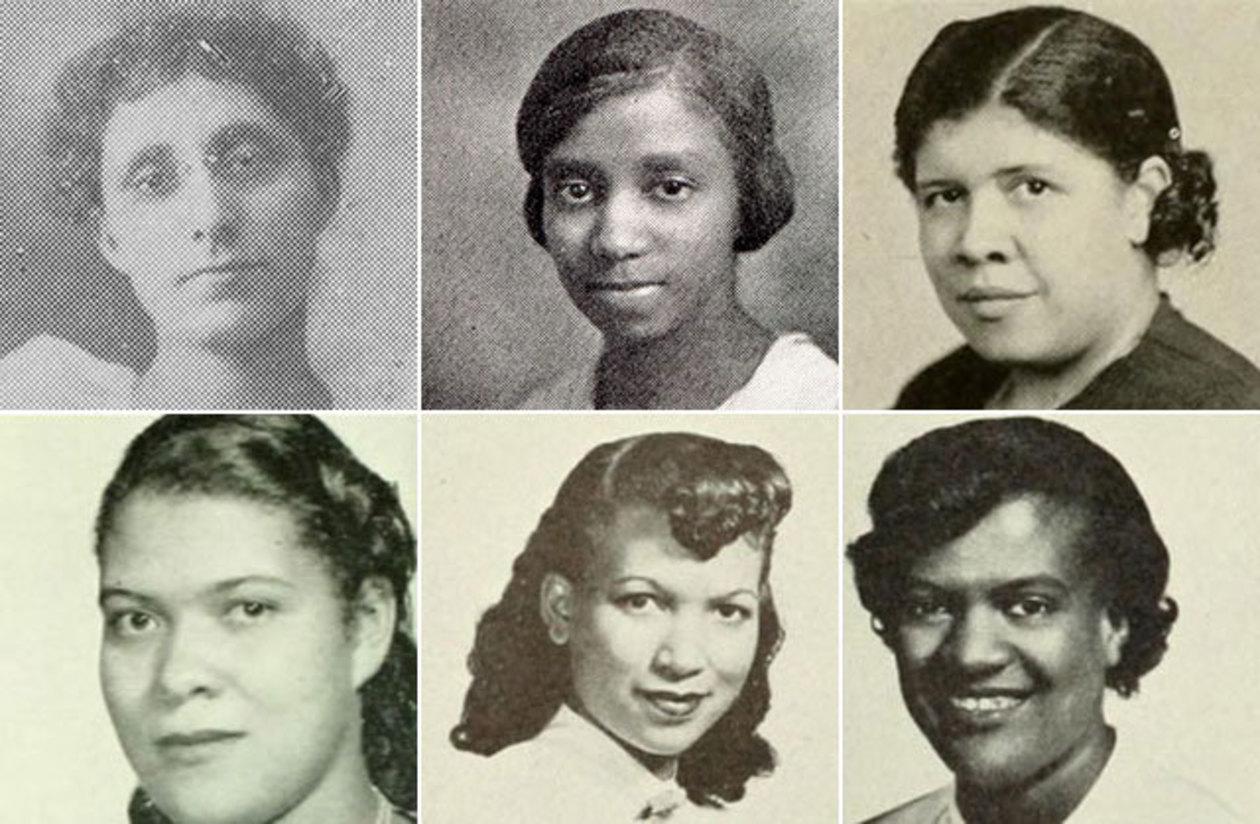 Headshots, top, left to right, Bianca Parker (Kimball Union Academy photo), Helen Dixon in 1926, Lucindia McClellen in 1941, and bottom, left to right, Almeda McClellen in 1950, Dolores Walker in 1951, Doris Roberts in 1951