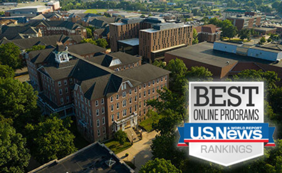 aerial view of campus buildings with inset of U.S. News and World Report Best Online Programs badge