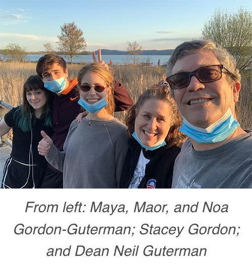 From left: Maya, Maor, and Noa Gordon-Guterman; Stacey Gordon; and Dean Neil Guterman