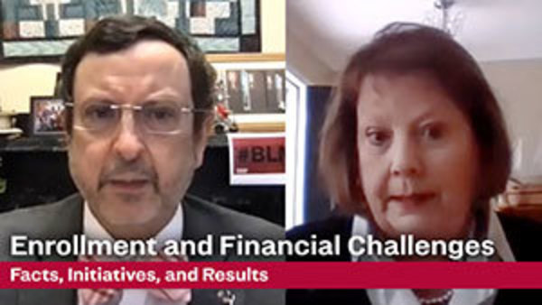side-by-side images of President Michael Driscoll and Vice President for Administration and Finance Debra Fitzsimons from video