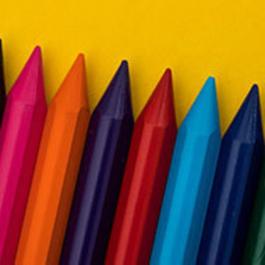 closeup of different colored crayons