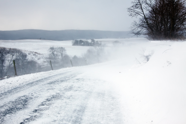 Road with blowing snow