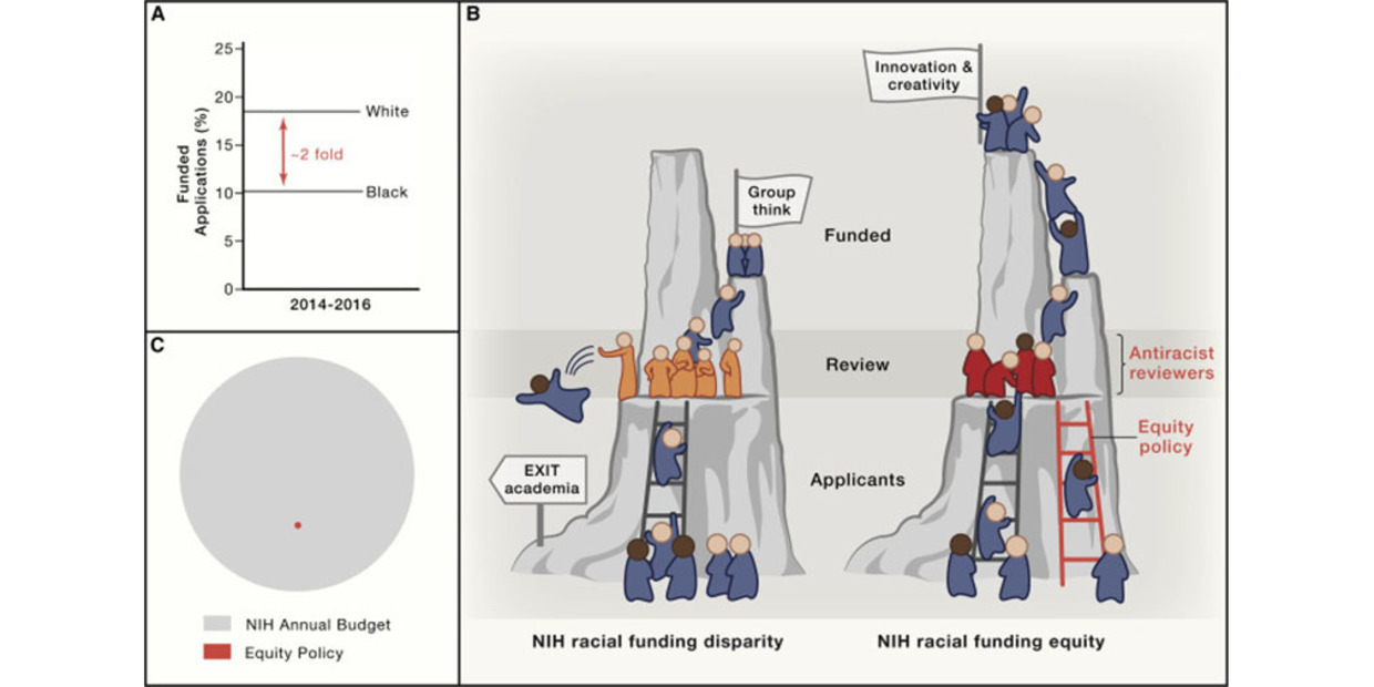 Graphic depicting researchers climbing a funding ladder