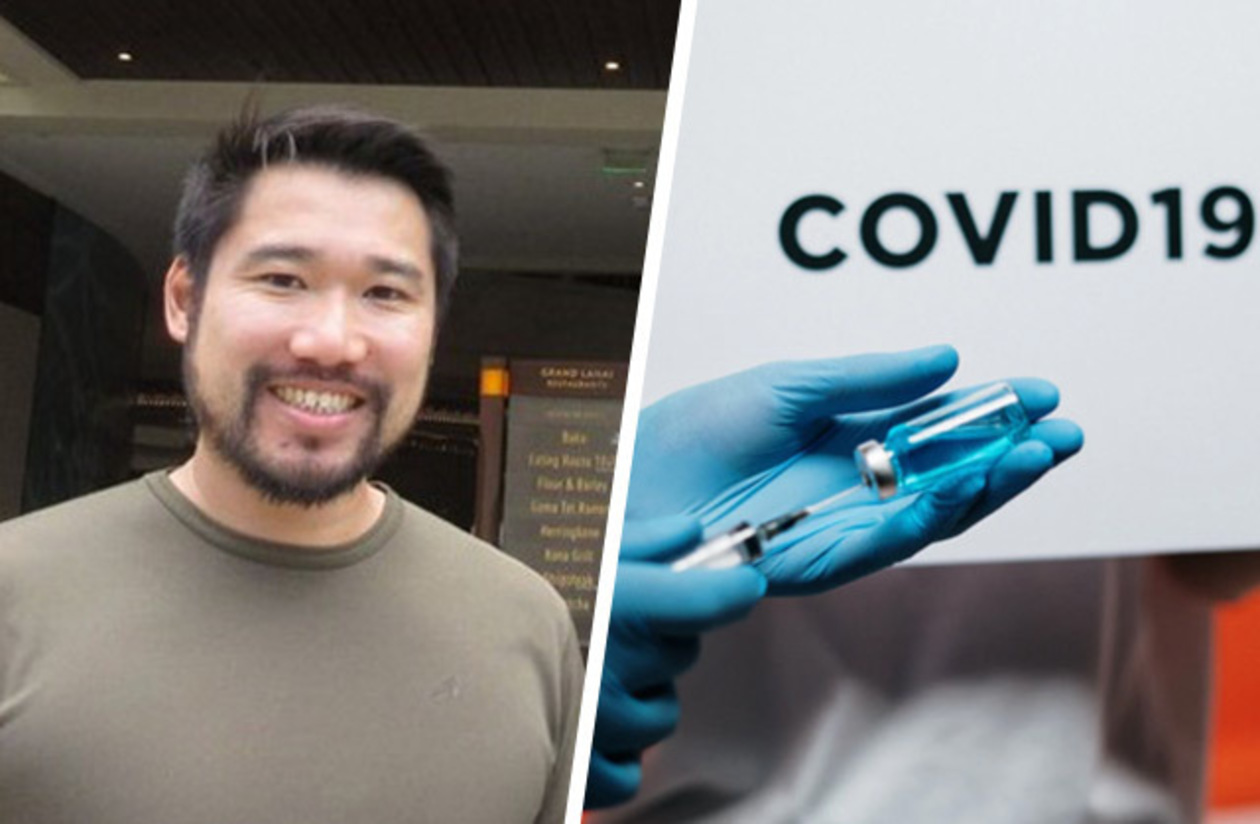 side-by-side photos of Leo Yan and of a needle drawing vaccine from a tube