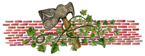 Illustration of hatchet with ivy against a brick wall