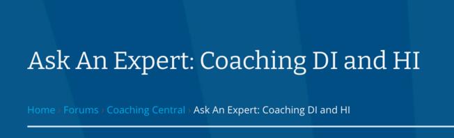 Ask an Expert: Coaching DI and HI