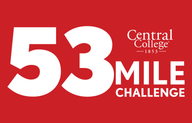 Red graphic with a white Central College logo and white text 53 MILE CHALLENGE