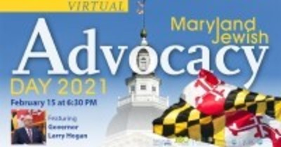 Maryland Jewish Advocacy Day with Maryland state flag and Maryland capitol