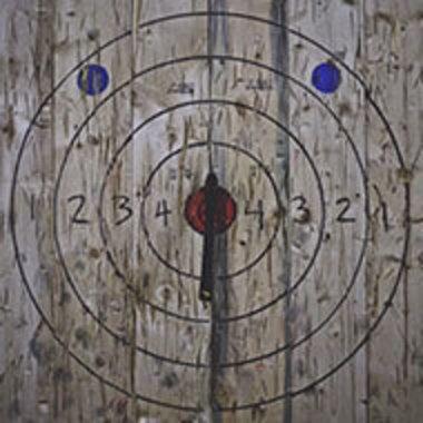 wooden axe-throwing target