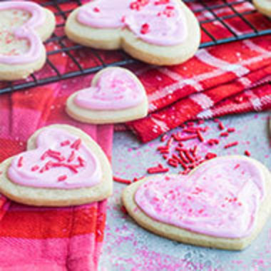 closeup of decorated Valentine's Day cookies
