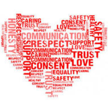 heart-shaped word cloud relating to healthy relationships