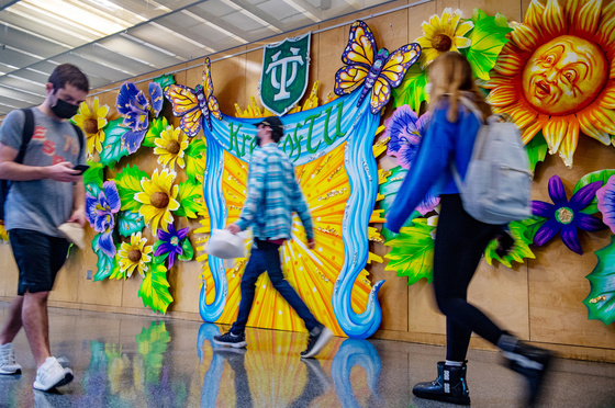 LBC Mardi Gras decorations